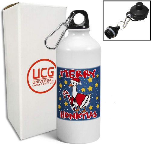 Merry Honkmas Funny Christmas Goose Novelty Sports Water Bottle/Canteen - White